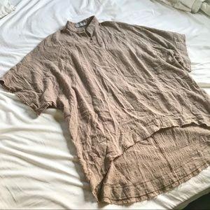 Misook Tops - Oversized Taupe Tunic Style Short Sleeved Shirt